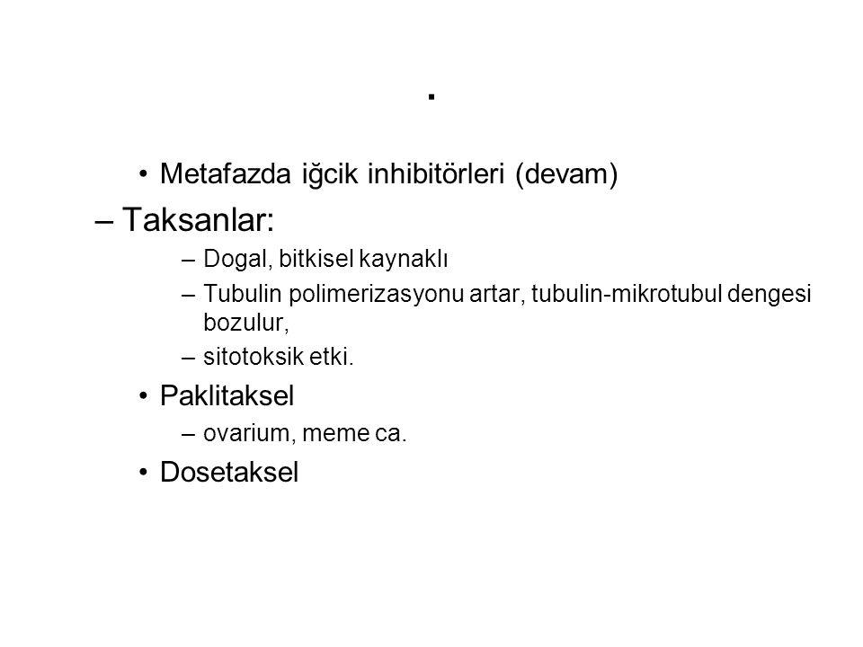 . Metafazda iğcik inhibitörleri (devam) –Taksanlar: –Dogal, bitkisel kaynaklı –Tubulin polimerizasyonu artar, tubulin-mikrotubul dengesi bozulur, –sit