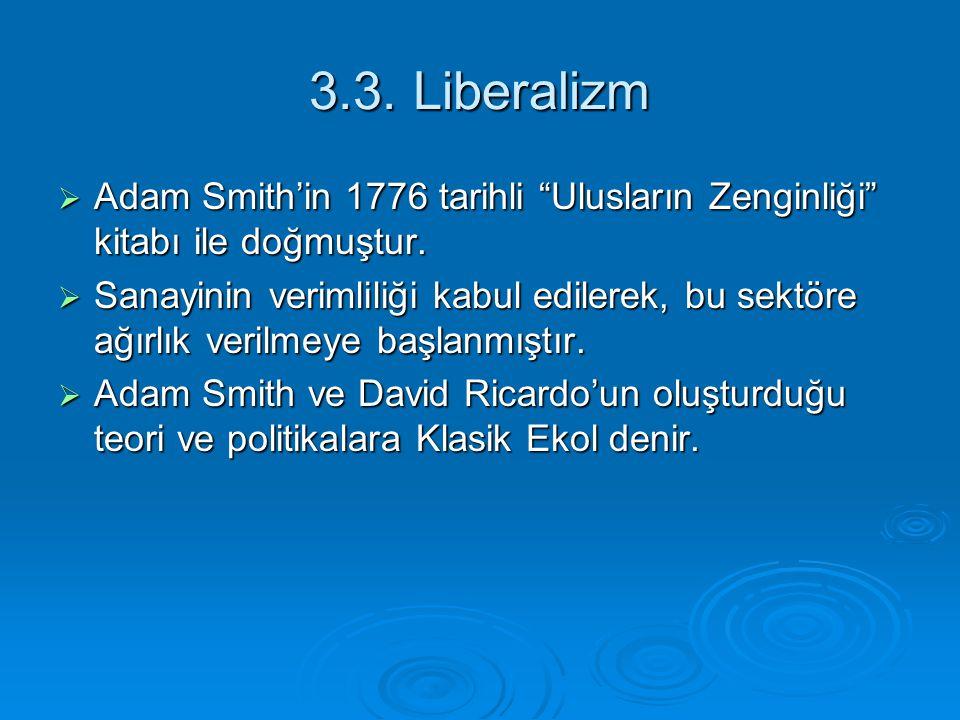 """3.3. Liberalizm  Adam Smith'in 1776 tarihli """"Ulusların Zenginliği"""" kitabı ile doğmuştur.  Sanayinin verimliliği kabul edilerek, bu sektöre ağırlık v"""