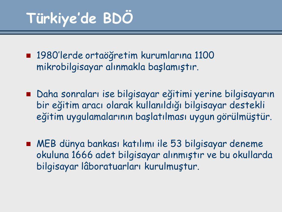 Türkiye'de BDÖ 1980'lerde ortaöğretim kurumlarına 1100 mikrobilgisayar alınmakla başlamıştır. Daha sonraları ise bilgisayar eğitimi yerine bilgisayarı