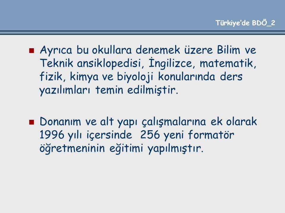 Türkiye'de BDÖ_2 Ayrıca bu okullara denemek üzere Bilim ve Teknik ansiklopedisi, İngilizce, matematik, fizik, kimya ve biyoloji konularında ders yazıl