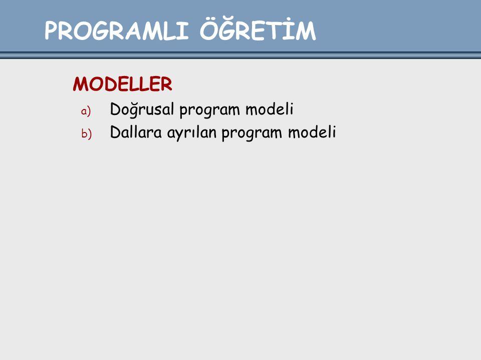 PROGRAMLI ÖĞRETİM MODELLER a) Doğrusal program modeli b) Dallara ayrılan program modeli