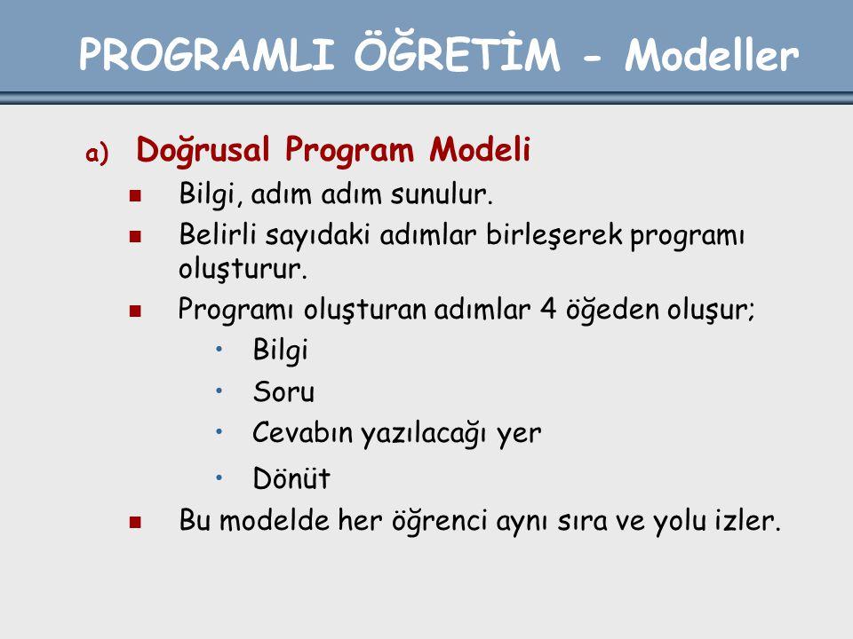 PROGRAMLI ÖĞRETİM - Modeller a) Doğrusal Program Modeli Bilgi, adım adım sunulur. Belirli sayıdaki adımlar birleşerek programı oluşturur. Programı olu