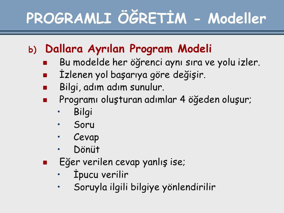 PROGRAMLI ÖĞRETİM - Modeller b) Dallara Ayrılan Program Modeli Bu modelde her öğrenci aynı sıra ve yolu izler. İzlenen yol başarıya göre değişir. Bilg