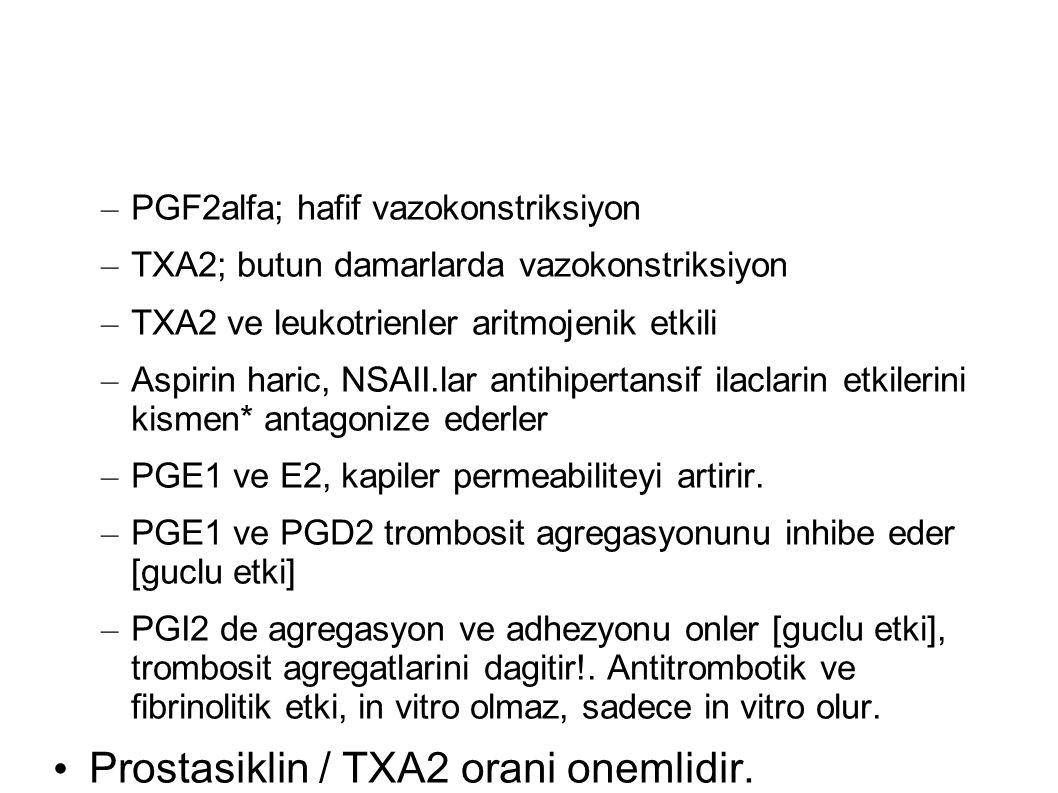– PGF2alfa; hafif vazokonstriksiyon – TXA2; butun damarlarda vazokonstriksiyon – TXA2 ve leukotrienler aritmojenik etkili – Aspirin haric, NSAII.lar antihipertansif ilaclarin etkilerini kismen* antagonize ederler – PGE1 ve E2, kapiler permeabiliteyi artirir.