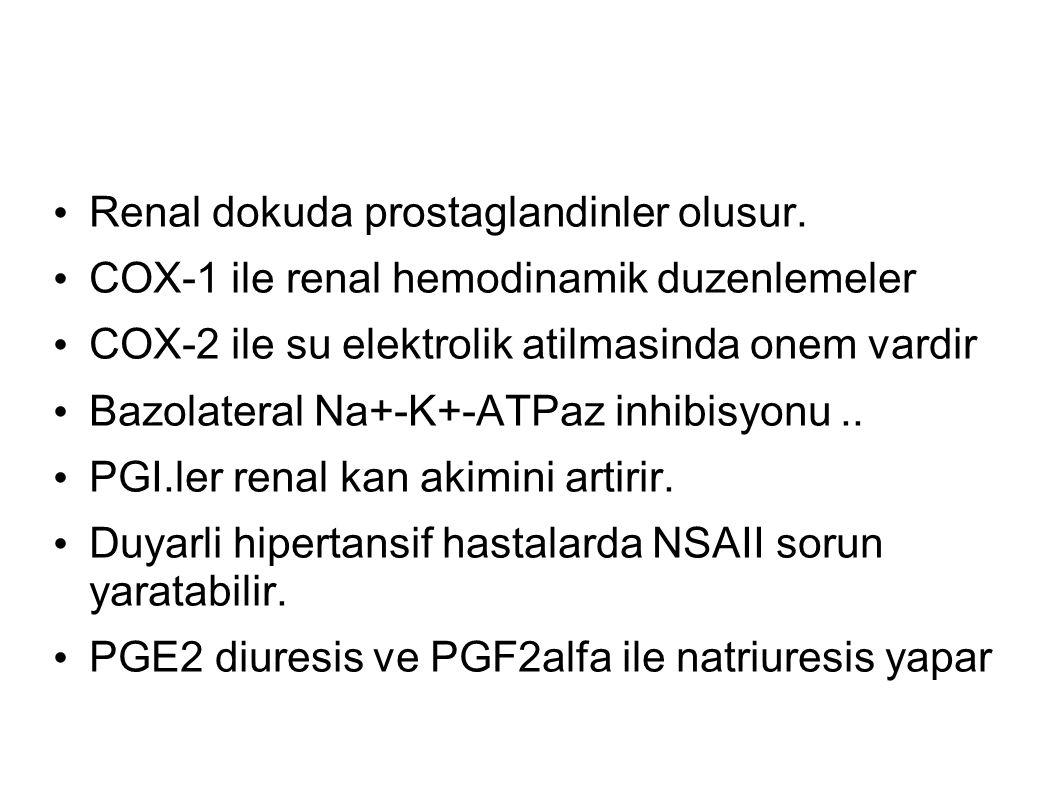Renal dokuda prostaglandinler olusur. COX-1 ile renal hemodinamik duzenlemeler COX-2 ile su elektrolik atilmasinda onem vardir Bazolateral Na+-K+-ATPa
