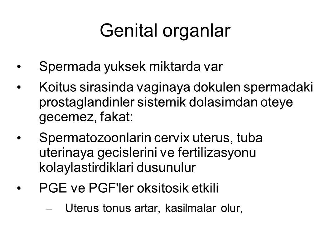 Genital organlar Spermada yuksek miktarda var Koitus sirasinda vaginaya dokulen spermadaki prostaglandinler sistemik dolasimdan oteye gecemez, fakat: Spermatozoonlarin cervix uterus, tuba uterinaya gecislerini ve fertilizasyonu kolaylastirdiklari dusunulur PGE ve PGF ler oksitosik etkili – Uterus tonus artar, kasilmalar olur,