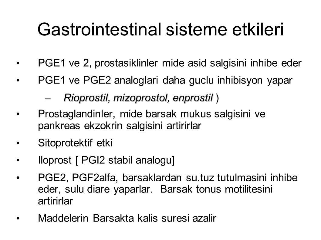 Gastrointestinal sisteme etkileri PGE1 ve 2, prostasiklinler mide asid salgisini inhibe eder PGE1 ve PGE2 analoglari daha guclu inhibisyon yapar – Rioprostil, mizoprostol, enprostil – Rioprostil, mizoprostol, enprostil ) Prostaglandinler, mide barsak mukus salgisini ve pankreas ekzokrin salgisini artirirlar Sitoprotektif etki Iloprost [ PGI2 stabil analogu] PGE2, PGF2alfa, barsaklardan su.tuz tutulmasini inhibe eder, sulu diare yaparlar.