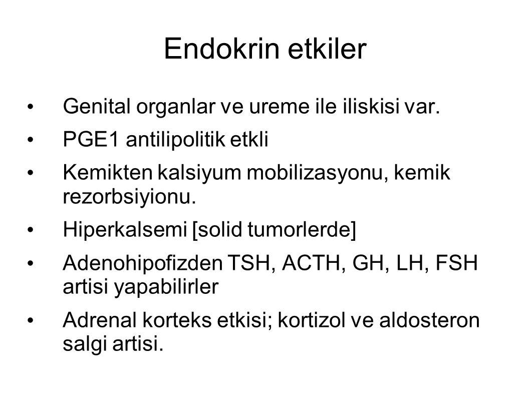 Endokrin etkiler Genital organlar ve ureme ile iliskisi var. PGE1 antilipolitik etkli Kemikten kalsiyum mobilizasyonu, kemik rezorbsiyionu. Hiperkalse