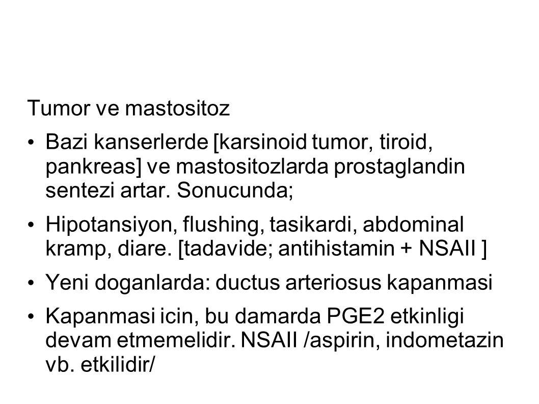 Tumor ve mastositoz Bazi kanserlerde [karsinoid tumor, tiroid, pankreas] ve mastositozlarda prostaglandin sentezi artar.