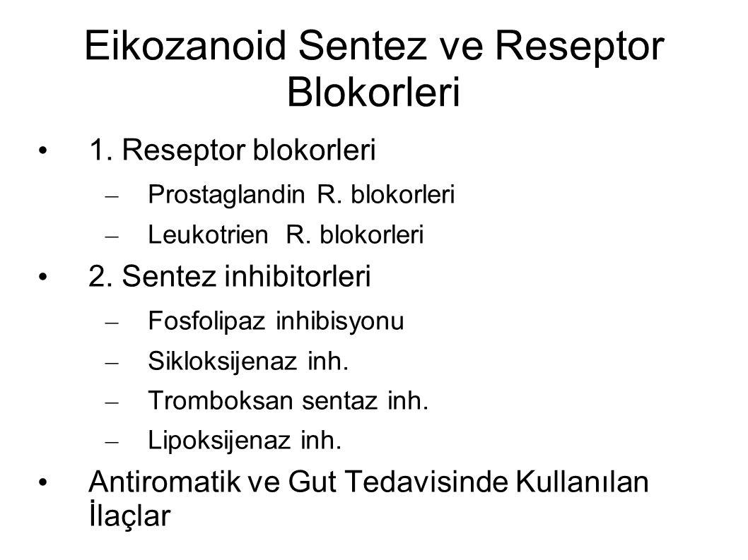 Eikozanoid Sentez ve Reseptor Blokorleri 1. Reseptor blokorleri – Prostaglandin R. blokorleri – Leukotrien R. blokorleri 2. Sentez inhibitorleri – Fos