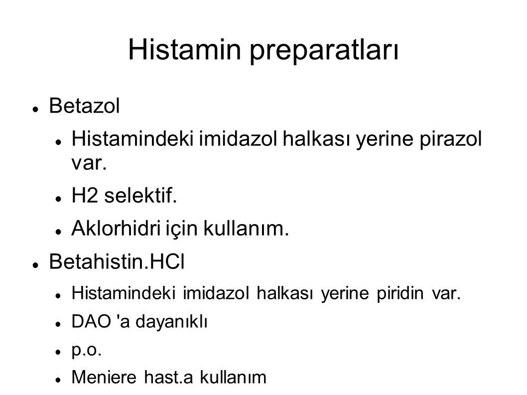Histamin preparatları Betazol Histamindeki imidazol halkası yerine pirazol var. H2 selektif. Aklorhidri için kullanım. Betahistin.HCl Histamindeki imi