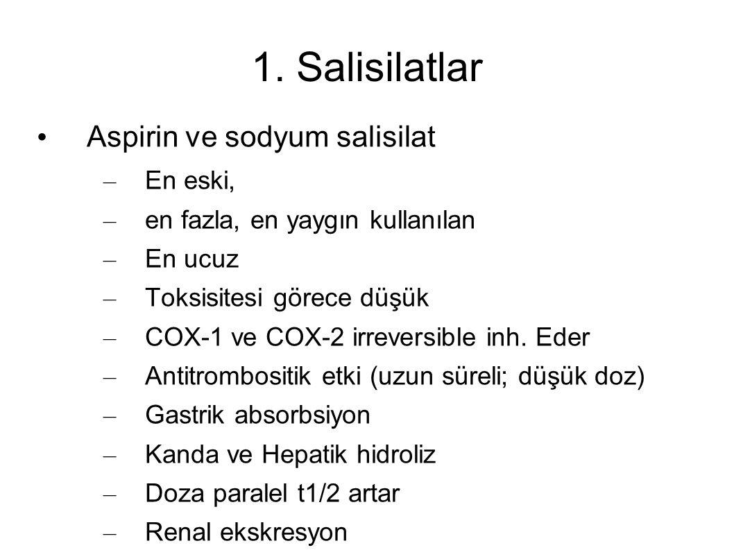 1. Salisilatlar Aspirin ve sodyum salisilat – En eski, – en fazla, en yaygın kullanılan – En ucuz – Toksisitesi görece düşük – COX-1 ve COX-2 irrevers