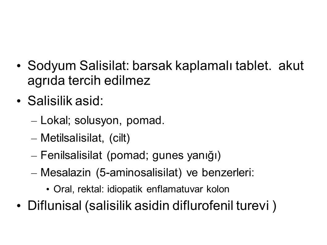 Sodyum Salisilat: barsak kaplamalı tablet. akut agrıda tercih edilmez Salisilik asid: – Lokal; solusyon, pomad. – Metilsalisilat, (cilt) – Fenilsalisi