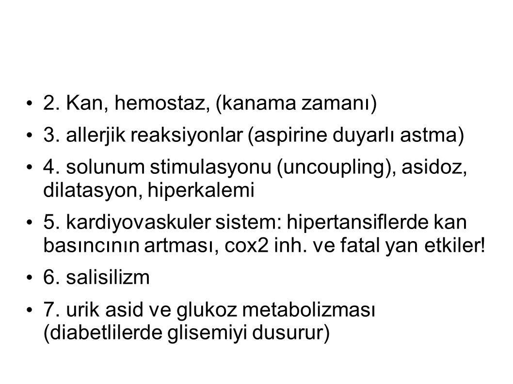 2. Kan, hemostaz, (kanama zamanı) 3. allerjik reaksiyonlar (aspirine duyarlı astma) 4. solunum stimulasyonu (uncoupling), asidoz, dilatasyon, hiperkal