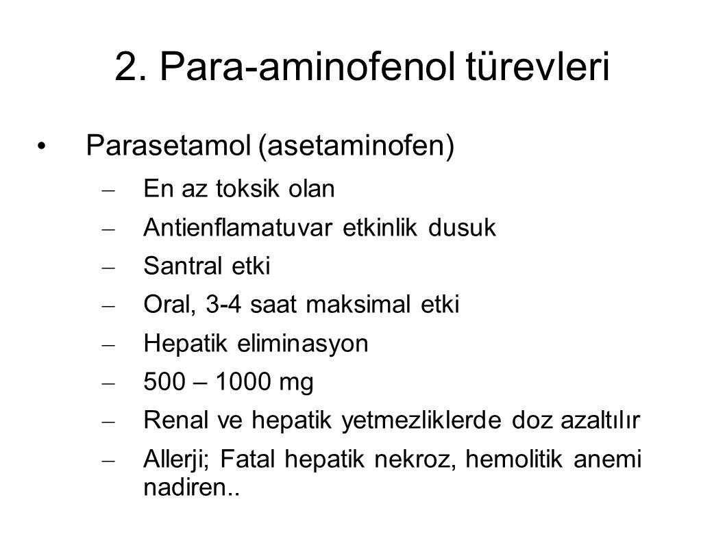 2. Para-aminofenol türevleri Parasetamol (asetaminofen) – En az toksik olan – Antienflamatuvar etkinlik dusuk – Santral etki – Oral, 3-4 saat maksimal