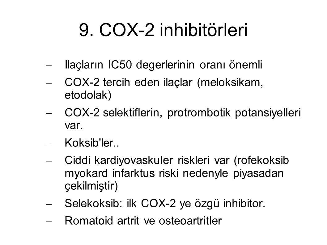 9. COX-2 inhibitörleri – Ilaçların IC50 degerlerinin oranı önemli – COX-2 tercih eden ilaçlar (meloksikam, etodolak) – COX-2 selektiflerin, protrombot