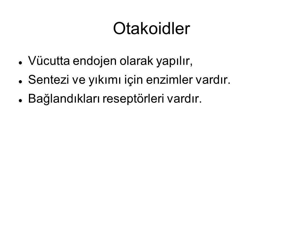 Otakoidler Vücutta endojen olarak yapılır, Sentezi ve yıkımı için enzimler vardır. Bağlandıkları reseptörleri vardır.