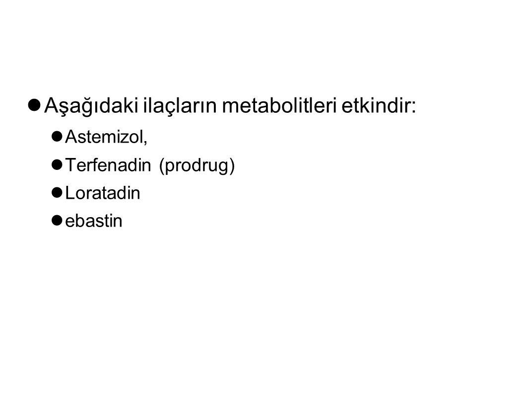 Aşağıdaki ilaçların metabolitleri etkindir: Astemizol, Terfenadin (prodrug) Loratadin ebastin