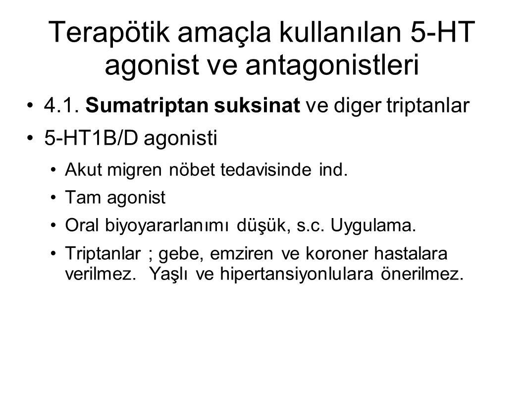 Terapötik amaçla kullanılan 5-HT agonist ve antagonistleri 4.1. Sumatriptan suksinat ve diger triptanlar 5-HT1B/D agonisti Akut migren nöbet tedavisin