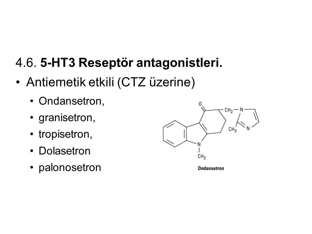 4.6. 5-HT3 Reseptör antagonistleri. Antiemetik etkili (CTZ üzerine) Ondansetron, granisetron, tropisetron, Dolasetron palonosetron