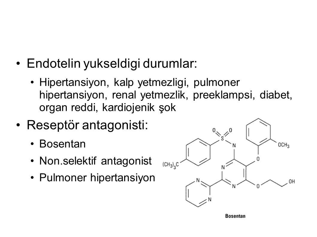 Endotelin yukseldigi durumlar: Hipertansiyon, kalp yetmezligi, pulmoner hipertansiyon, renal yetmezlik, preeklampsi, diabet, organ reddi, kardiojenik şok Reseptör antagonisti: Bosentan Non.selektif antagonist Pulmoner hipertansiyon