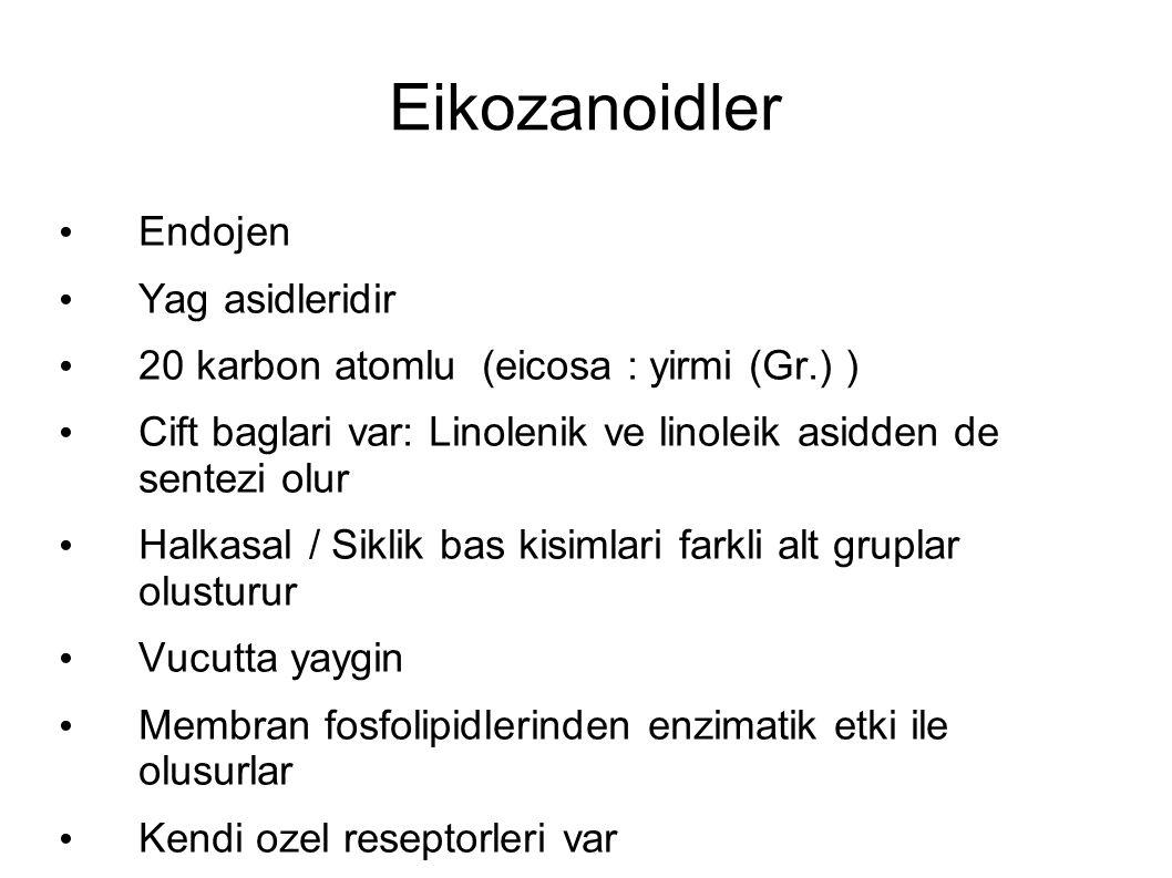 Eikozanoidler Endojen Yag asidleridir 20 karbon atomlu (eicosa : yirmi (Gr.) ) Cift baglari var: Linolenik ve linoleik asidden de sentezi olur Halkasa