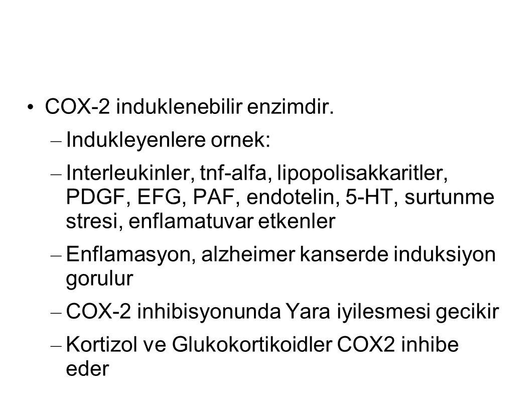 – Indukleyenlere ornek: – Interleukinler, tnf-alfa, lipopolisakkaritler, PDGF, EFG, PAF, endotelin, 5-HT, surtunme stresi, enflamatuvar etkenler – Enflamasyon, alzheimer kanserde induksiyon gorulur – COX-2 inhibisyonunda Yara iyilesmesi gecikir – Kortizol ve Glukokortikoidler COX2 inhibe eder
