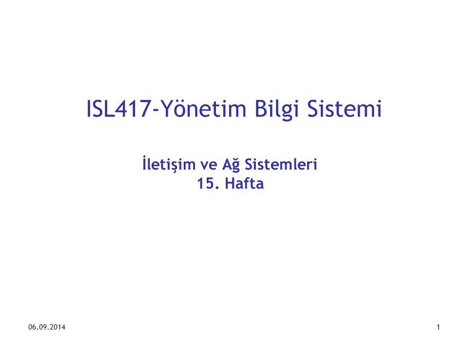 06.09.20141 ISL417-Yönetim Bilgi Sistemi İletişim ve Ağ Sistemleri 15. Hafta