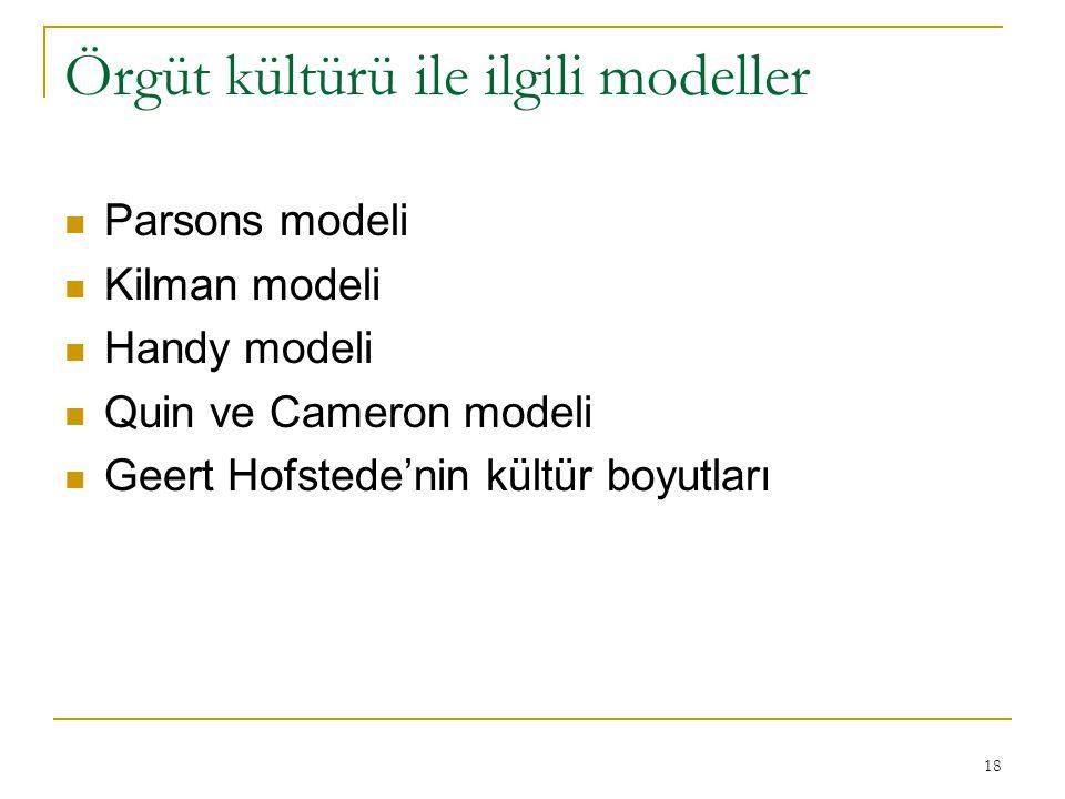 Örgüt kültürü ile ilgili modeller Parsons modeli Kilman modeli Handy modeli Quin ve Cameron modeli Geert Hofstede'nin kültür boyutları 18