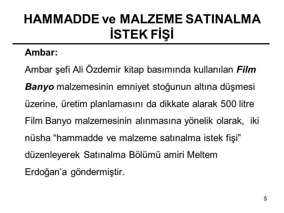 5 Ambar: Ambar şefi Ali Özdemir kitap basımında kullanılan Film Banyo malzemesinin emniyet stoğunun altına düşmesi üzerine, üretim planlamasını da dik