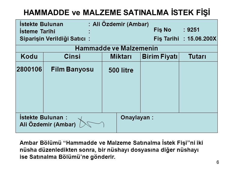 6 İstekte Bulunan: İsteme Tarihi : Siparişin Verildiği Satıcı : Ali Özdemir (Ambar) Fiş No: Fiş Tarihi : 15.06.200X 9251 Hammadde ve Malzemenin KoduCi