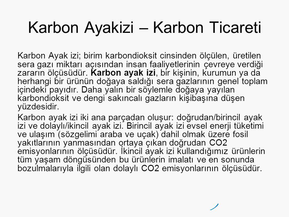 Karbon Ayakizi – Karbon Ticareti Karbon Ayak izi; birim karbondioksit cinsinden ölçülen, üretilen sera gazı miktarı açısından insan faaliyetlerinin çevreye verdiği zararın ölçüsüdür.