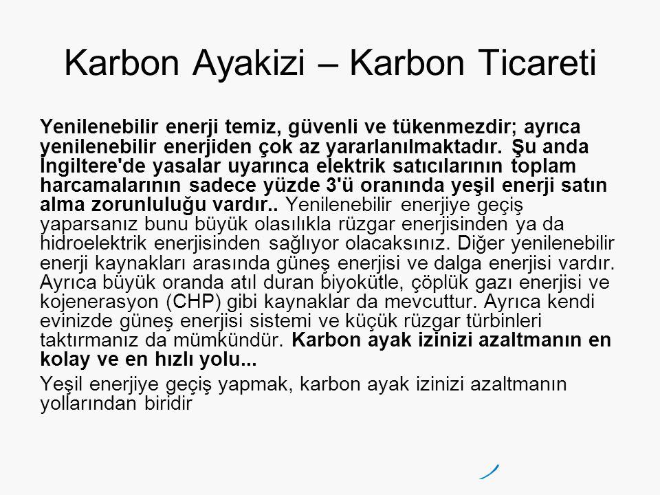 Karbon Ayakizi – Karbon Ticareti Yenilenebilir enerji temiz, güvenli ve tükenmezdir; ayrıca yenilenebilir enerjiden çok az yararlanılmaktadır. Şu anda