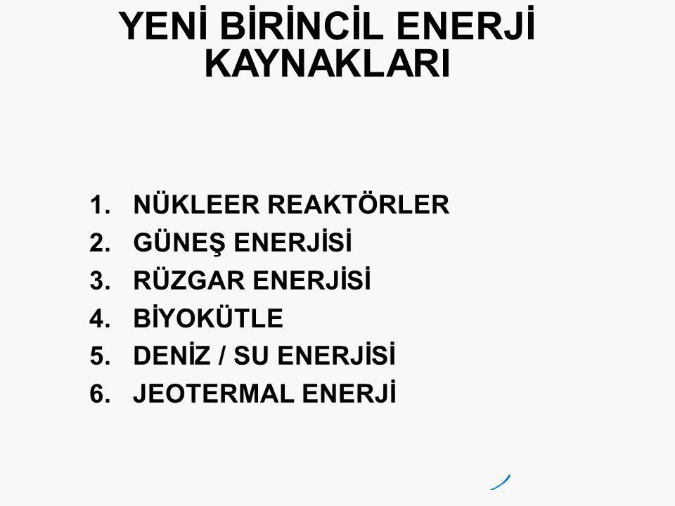 YENİ BİRİNCİL ENERJİ KAYNAKLARI 1.NÜKLEER REAKTÖRLER 2.