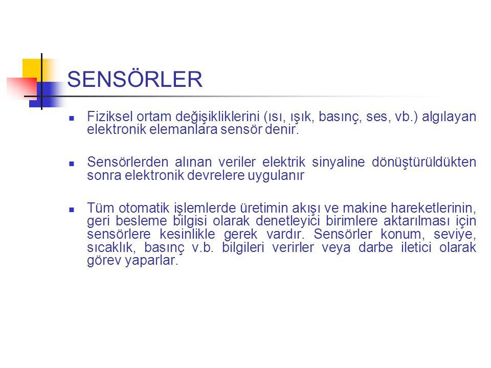 SENSÖRLER Fiziksel ortam değişikliklerini (ısı, ışık, basınç, ses, vb.) algılayan elektronik elemanlara sensör denir.