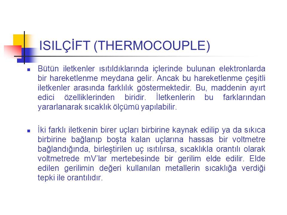 ISILÇİFT (THERMOCOUPLE) Bütün iletkenler ısıtıldıklarında içlerinde bulunan elektronlarda bir hareketlenme meydana gelir.