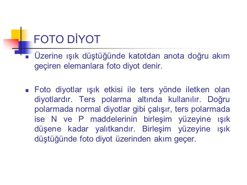 FOTO DİYOT Üzerine ışık düştüğünde katotdan anota doğru akım geçiren elemanlara foto diyot denir.