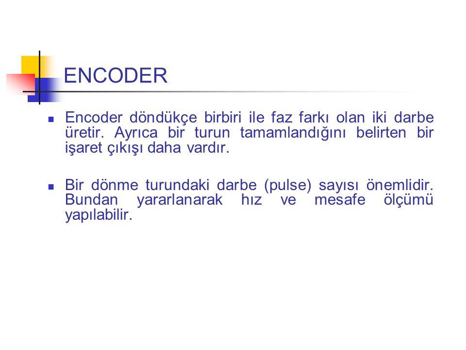 ENCODER Encoder döndükçe birbiri ile faz farkı olan iki darbe üretir.