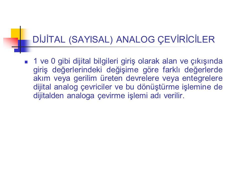 DİJİTAL (SAYISAL) ANALOG ÇEVİRİCİLER 1 ve 0 gibi dijital bilgileri giriş olarak alan ve çıkışında giriş değerlerindeki değişime göre farklı değerlerde akım veya gerilim üreten devrelere veya entegrelere dijital analog çevriciler ve bu dönüştürme işlemine de dijitalden analoga çevirme işlemi adı verilir.