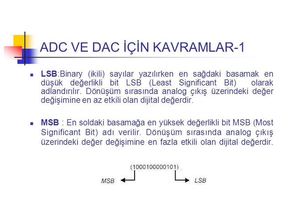 ADC VE DAC İÇİN KAVRAMLAR-1 LSB:Binary (ikili) sayılar yazılırken en sağdaki basamak en düşük değerlikli bit LSB (Least Significant Bit) olarak adlandırılır.