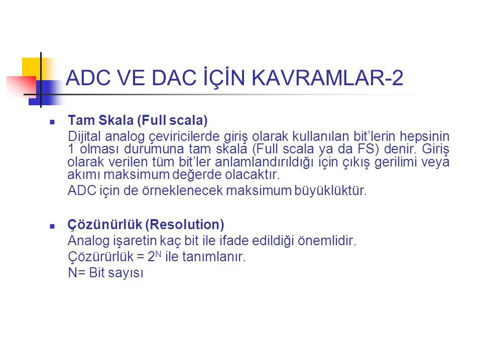 ADC VE DAC İÇİN KAVRAMLAR-2 Tam Skala (Full scala) Dijital analog çeviricilerde giriş olarak kullanılan bit'lerin hepsinin 1 olması durumuna tam skala (Full scala ya da FS) denir.