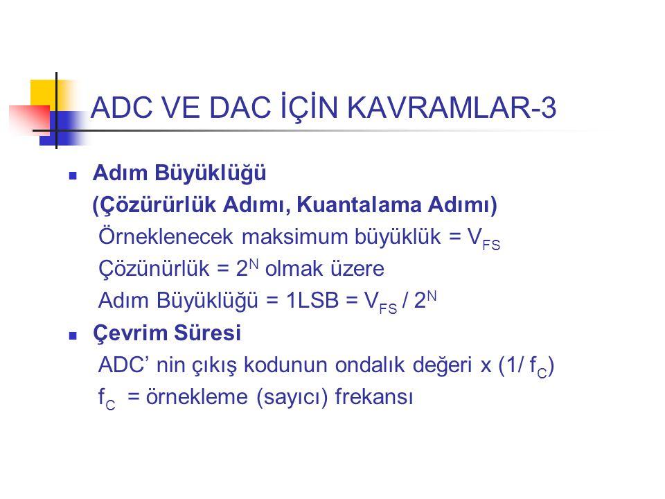 ADC VE DAC İÇİN KAVRAMLAR-3 Adım Büyüklüğü (Çözürürlük Adımı, Kuantalama Adımı) Örneklenecek maksimum büyüklük = V FS Çözünürlük = 2 N olmak üzere Adım Büyüklüğü = 1LSB = V FS / 2 N Çevrim Süresi ADC' nin çıkış kodunun ondalık değeri x (1/ f C ) f C = örnekleme (sayıcı) frekansı