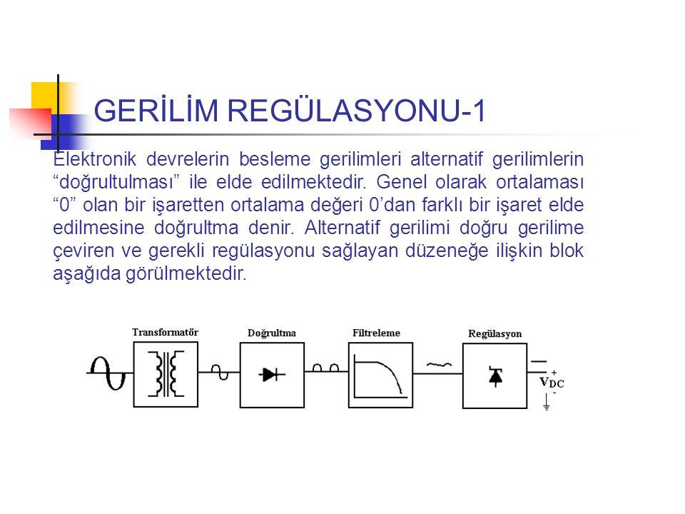 GERİLİM REGÜLASYONU-1 Elektronik devrelerin besleme gerilimleri alternatif gerilimlerin doğrultulması ile elde edilmektedir.