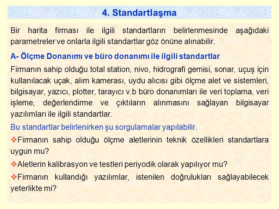 4. Standartlaşma Bir harita firması ile ilgili standartların belirlenmesinde aşağıdaki parametreler ve onlarla ilgili standartlar göz önüne alınabilir