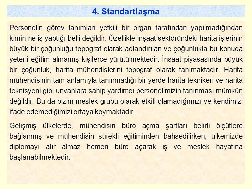 4. Standartlaşma Personelin görev tanımları yetkili bir organ tarafından yapılmadığından kimin ne iş yaptığı belli değildir. Özellikle inşaat sektörün