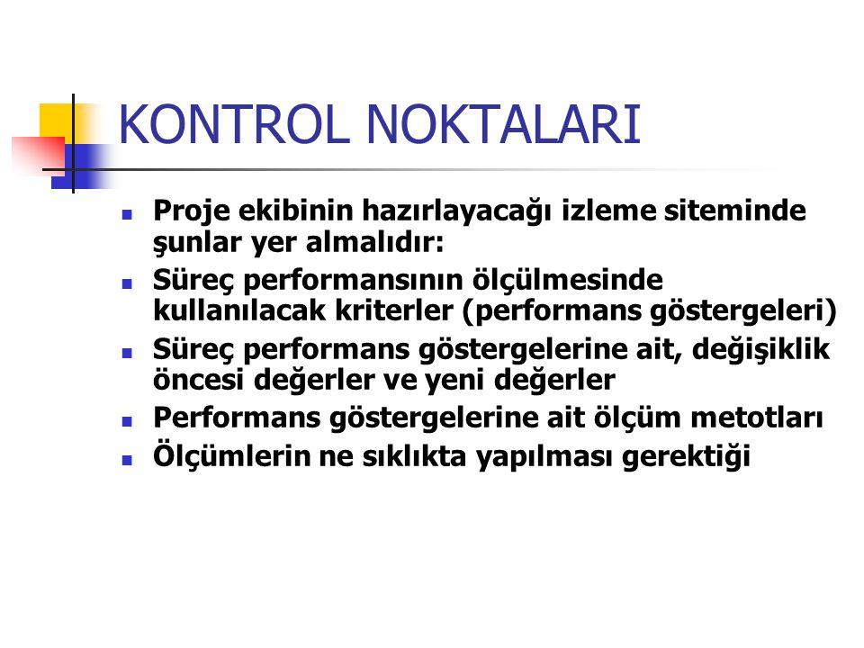 KONTROL NOKTALARI Proje ekibinin hazırlayacağı izleme siteminde şunlar yer almalıdır: Süreç performansının ölçülmesinde kullanılacak kriterler (perfor
