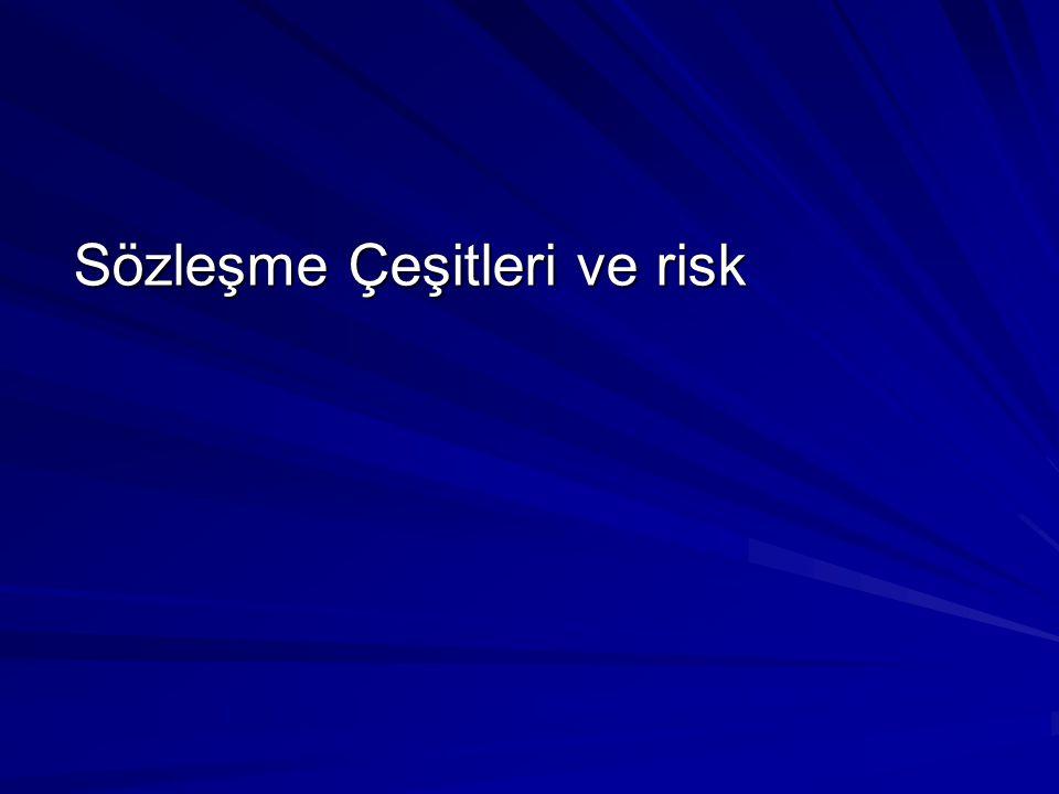 Sözleşme Çeşitleri ve risk