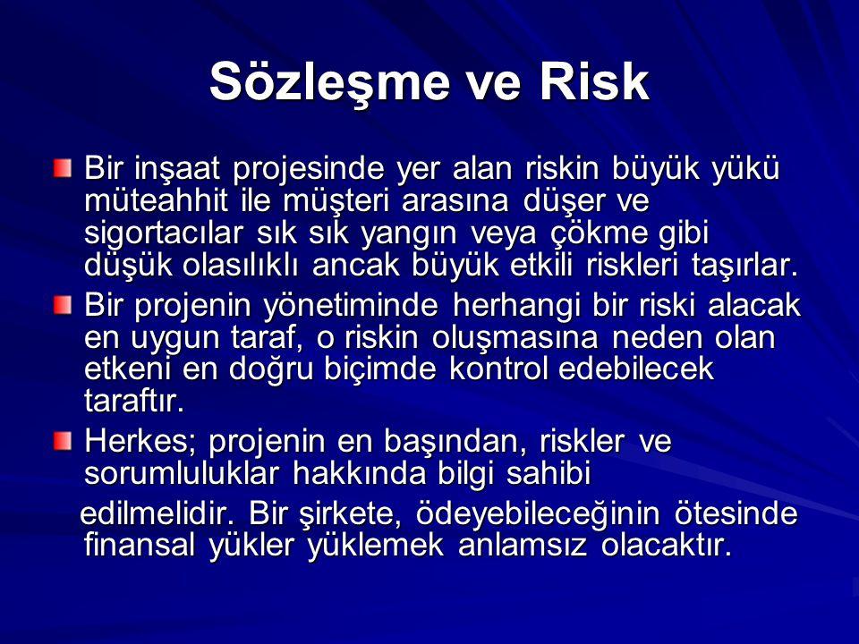 Sözleşme ve Risk Bir inşaat projesinde yer alan riskin büyük yükü müteahhit ile müşteri arasına düşer ve sigortacılar sık sık yangın veya çökme gibi d