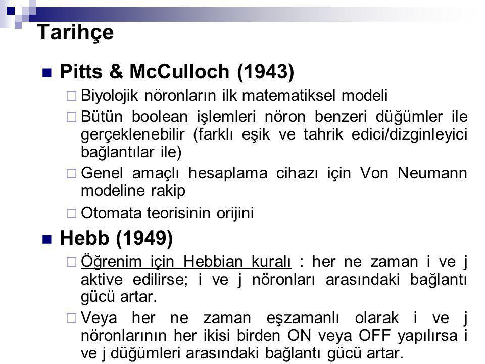 Tarihçe Pitts & McCulloch (1943)  Biyolojik nöronların ilk matematiksel modeli  Bütün boolean işlemleri nöron benzeri düğümler ile gerçeklenebilir (farklı eşik ve tahrik edici/dizginleyici bağlantılar ile)  Genel amaçlı hesaplama cihazı için Von Neumann modeline rakip  Otomata teorisinin orijini Hebb (1949)  Öğrenim için Hebbian kuralı : her ne zaman i ve j aktive edilirse; i ve j nöronları arasındaki bağlantı gücü artar.