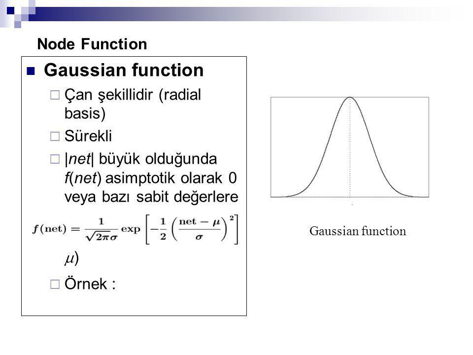 Node Function Gaussian function  Çan şekillidir (radial basis)  Sürekli  |net| büyük olduğunda f(net) asimptotik olarak 0 veya bazı sabit değerlere yakınsar  Tekil maksimum (net =  )  Örnek : Gaussian function